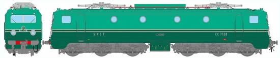 REE Modeles MB-055 - French Electric Locomotive Class CC-7128 of the SNCF ORIGIN Version Southeast û Depot Lyon-Mouche
