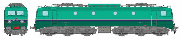 REE Modeles MB-095 - French Electric Locomotive CC 7119 GRG of the SNCF Depot AVIGNON