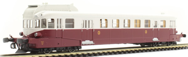 REE Modeles MB-119S - French Renault Railcar Class VH X-2114 ex-PLM LYON-VAISE, Ruby-Grey, hunting stones Era III - DCC S