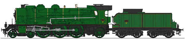 REE Modeles MB-134S - French Steam Locomotive Class 231D of the PLM, Simple smoke stack, without smoke deflectors, Era II