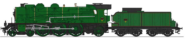 REE Modeles MB-134SAC - French Steam Locomotive Class 231D of the PLM, Simple smoke stack, without smoke deflectors, PLM Gr