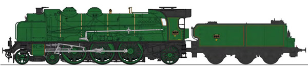 REE Modeles MB-138S - French Steam Locomotive Class 231D of the PLM, simple smoke stack, without smoke deflectors, Fives-