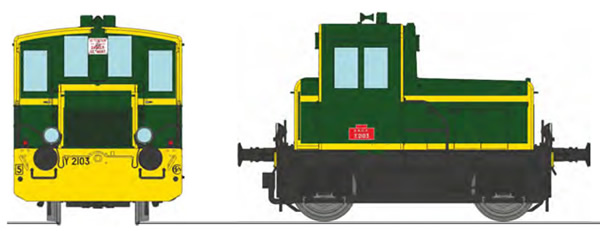 REE Modeles MB-147 - French Shunting Locomotive Class Y 2103 SNCF green 301, yellow front beam, yellow strip, black fram