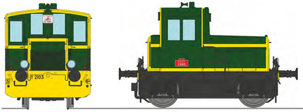 REE Modeles MB-147S - French Shunting Locomotive Class Y 2103 SNCF green, yellow front beam, yellow strip, black frame, S