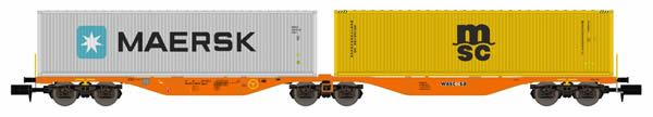 REE Modeles NW-098 - Flat Car Sggrss 80 with Container Loads MAERK and MSC