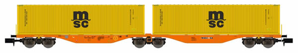 REE Modeles NW-099 - Flat Car Sggrss 80 with Container Loads MSC