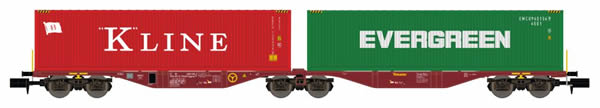 REE Modeles NW-102 - Flat Car Sggrss 80 with Container Loads KLINE and EVERGREEN