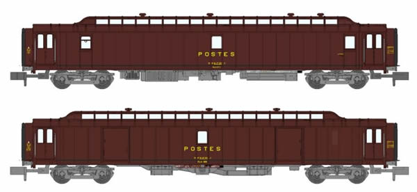 REE Modeles NW-121 - 2pc Post Wagons Ambulant and Lighten brown PTT Boudin UIC bogie Y24 21m
