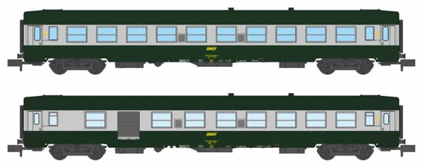 REE Modeles NW-150 - SET of 2French SNCF Coach Set Class UIC CAR B10 et B5D Green/ALU Yellow Logo Era IV