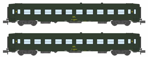 REE Modeles NW-153 - 2pc 2nd Class Passenger Coach Set UIC B10