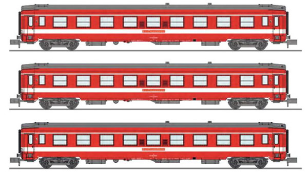 REE Modeles NW-155 - SET of 3 UIC CAR A9 Era IV Red LE CAPITOLE