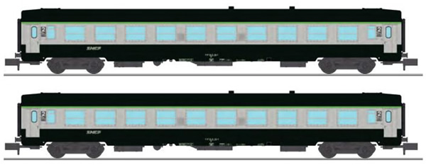 REE Modeles NW-171 - SET of 2 French SNCF Coach Set Class UIC CAR B10 Green-Grey Logo Nouille Era V