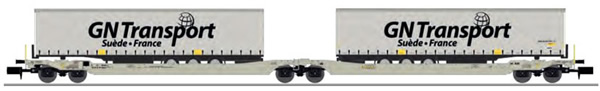 REE Modeles NW-184 - Twin car Sdggmrs AAE Cargo + 2 trailers GN TRANSPORT – Era V-VI