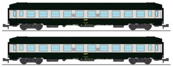 REE Modeles NW-191 - SET of 2 UIC SLEEPING CAR, High roof, Green-Alu 160 color Era IV
