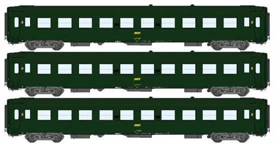 REE Modeles VB-066 - 3pc Passenger Coach Set UIC - Yellow Green Box Logo