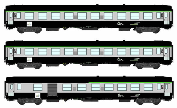 REE Modeles VB-072 - 2nd Class French 3pc Passenger Coach Set B10 Green scrubland 302