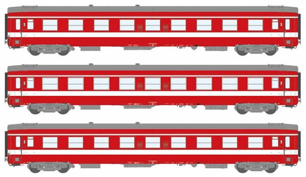 REE Modeles VB-105 - 1st Class French 3pc Passenger Coach Set A9 Capitol Rouge Reserve