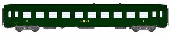 REE Modeles VB-107 - 2nd Class French Passenger Coach B10 13301myfi Celtic Green 301