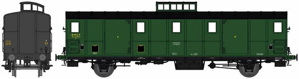REE Modeles VB-109S - French SNCF Luggage Car OCEM 29, black roof, Cushion wheelboxes, Era IIIA- DCC Sound