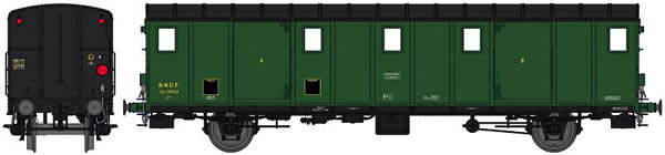 REE Modeles VB-113 - French SNCF Luggage Car OCEM 29 Functional Lights, black roof, 3 Ligths, Cushion wheelboxes, Era II