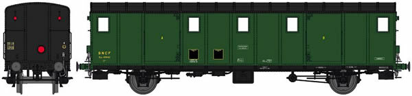 REE Modeles VB-114 - French SNCF Luggage Car OCEM 29 Functional Lights, black roof, 3 Ligths, Cushion wheelboxes, Era II