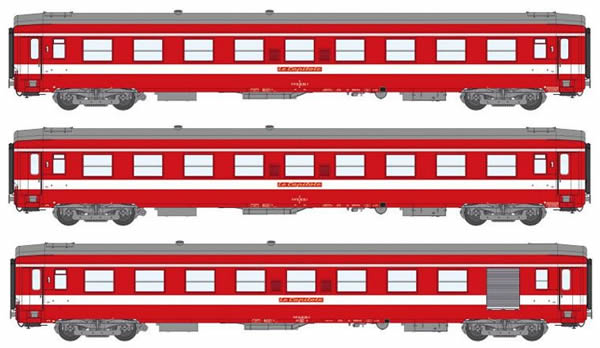 REE Modeles VB-119 - 1st Class French 3pc Passenger Coach Set Red Plate Capitol