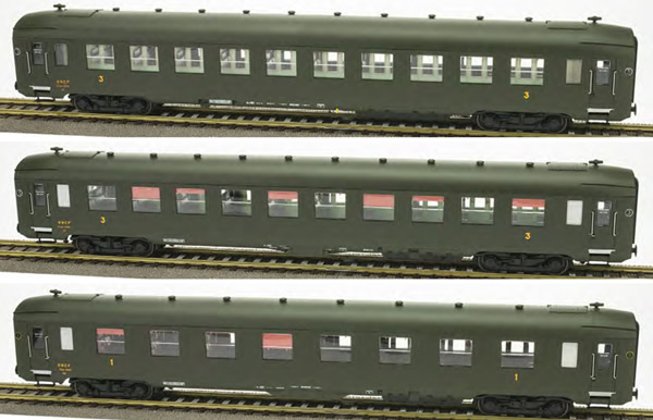REE Modeles VB-137 - French 3pc Passenger Coach Set DEV AO