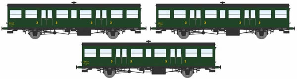 REE Modeles VB-146 - 3pc 3rd Class Passenger Coach Set COFFRET