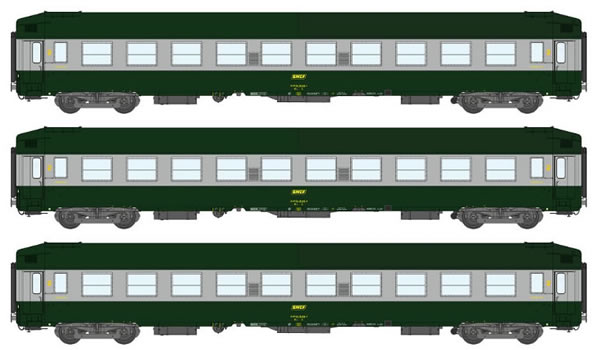 REE Modeles VB-179 - 3pc 2nd Class Passenger Coach Set COFFRET B9C9