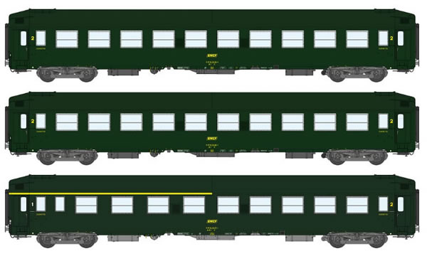 REE Modeles VB-185 - 3pc Class Passenger Coach Set COFFRET UIC