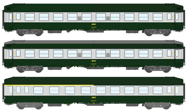 REE Modeles VB-187 - 3pc 2nd Class Passenger Coach Set COFFRET UIC