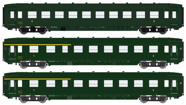 REE Modeles VB-198 - 3pc Passenger Coach Set DEV AO U46 (B10 & 2xA21/2B6) Green 306