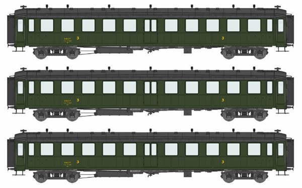 REE Modeles VB-212 - 3pc 3rd Class Passenger Coach Set Bacalan