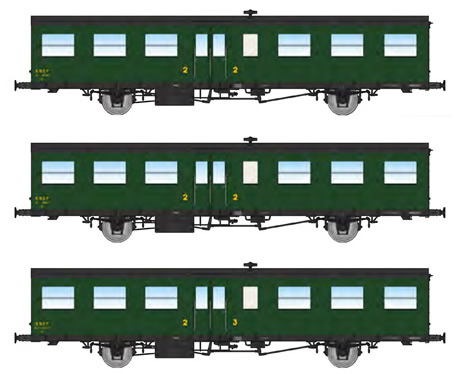 REE Modeles VB-240 - French SNCF Coach Set  of three Southwest Car, long gutters, 1 Door, 16m, (2xB6t N°41792 and 41807