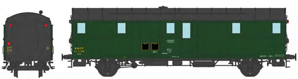 REE Modeles VB-312 - French SNCF OCEM 32 Luggage Van, black roof and ends, 3 headligths South-East SNCF N°26510 Era III