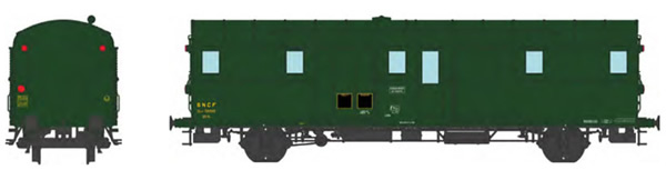 REE Modeles VB-316 - French SNCF OCEM 32 Luggage Van, green 306, 3 headligths, South-East REGION SNCF N°58689 Era III
