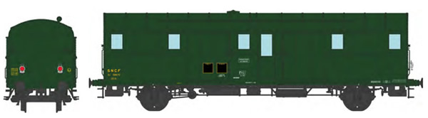 REE Modeles VB-325 - French SNCF OCEM 32 Luggage Van, 306 green, 2 Alu made lanterns East  SNCF N° 58670 Era III-IV