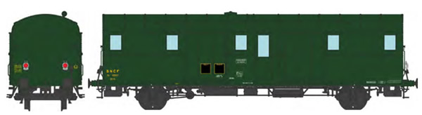 REE Modeles VB-329 - French SNCF OCEM 32 Luggage Van, 306 green, 2 Alu made lanterns, 1500V cable East SNCF N°19807 Era
