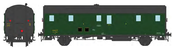 REE Modeles VB-335 - French SNCF DEV 52 Luggage Van 306 green, black roof, ancient lantern, 3 headlights, South-East SNC