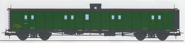 REE Modeles VB-347 - French PLM Railroad Luggage Van, PLM green, Lookout box, Ladder, Black Roof SNCF N°24636 Era III