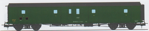 REE Modeles VB-353 - French SNCF Luggage Van, rebuilt out of metal, Black Roof, green, SNCF N°58815 Era III
