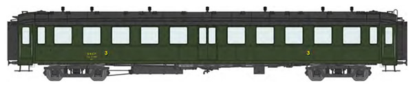 REE Modeles VB-368 - French SNCF BACALAN Coach 3rd class C11myfi 11450 SNCF Era III black roof, ladders