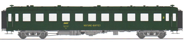 REE Modeles VB-376 - French SNCF BACALAN Coach Buffet B3r SNCF Era IV boxed yellow SNCF