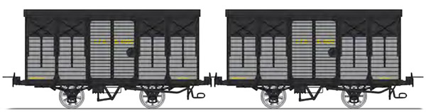 REE Modeles VM-009 - Set of 2 Covered Wagon with brakes, Round roof Grey / Black steel Kv 4096 and Kv 4100