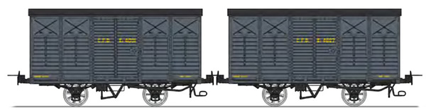 REE Modeles VM-010 - Set of 2 Covered Wagon with brakes, Round roof, Dark grey Kv 4091 and Kv 4627