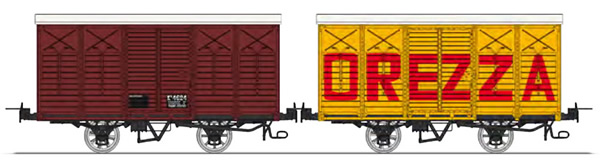 REE Modeles VM-011 - Set of 2 Covered Wagon with brakes, Round roof, Red UIC Kv 4624 and OREZZA Kv 4609