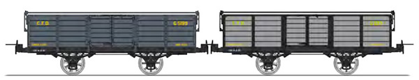 REE Modeles VM-016 - Set of 2 Gondola Wagon without brakes, with iron bar, grey Gv 5199 and Grey / Black steel G 239