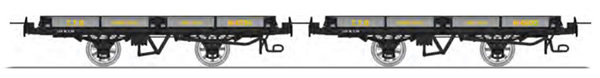 REE Modeles VM-018 - Set of 2 Flat Wagon with brakes, Grey / Black steel Hv 6596 and Hv 6600