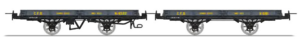 REE Modeles VM-019 - Set of 2 Flat Wagon with brakes, Dark grey Hv 6592 and Hv 6181