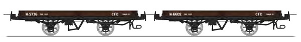 REE Modeles VM-021 - Set of 2 Flat Wagon with brakes, brown Hv 5736 and Hv 6602